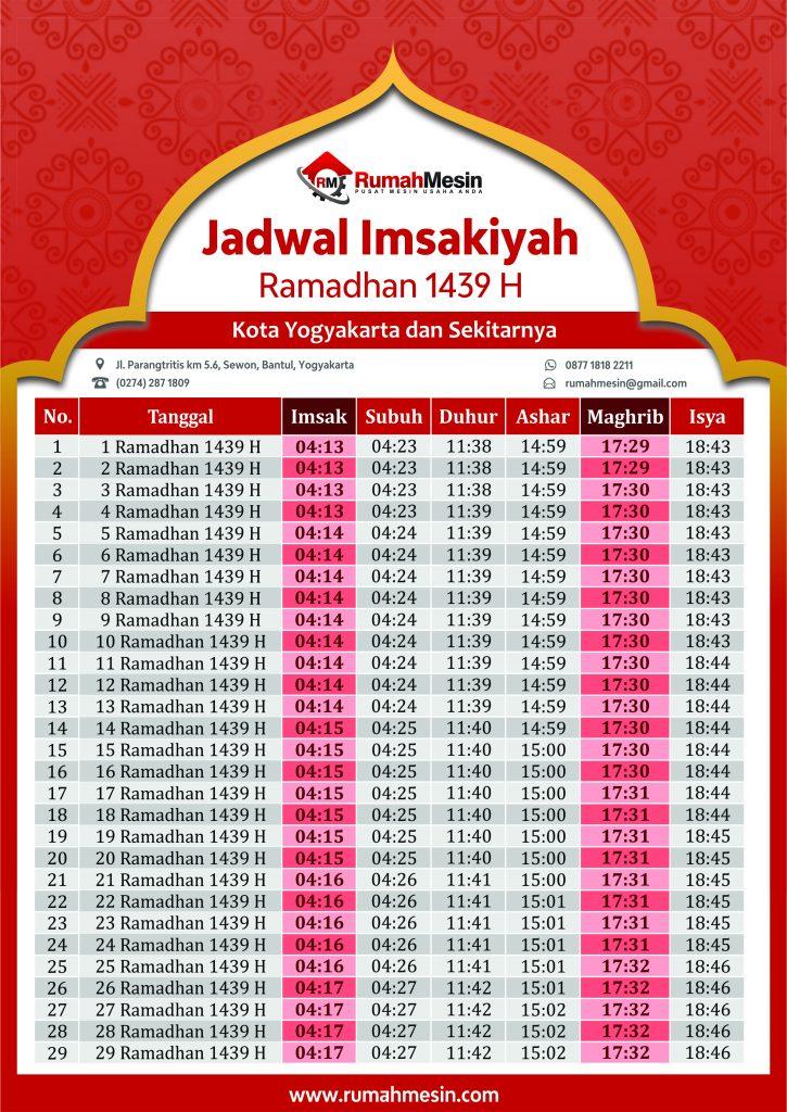 Jadwal Imsak Jogja Bulan Ramadhan 1439 H - Ramadhan 2018